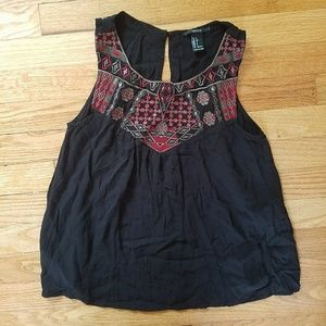 Forever 21 Black Red Embroidered Tank